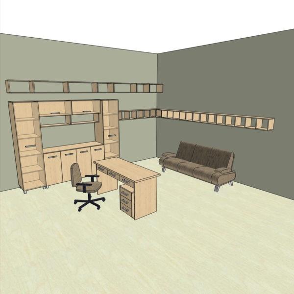 Полки + стенка (двери стеклянные) + стол