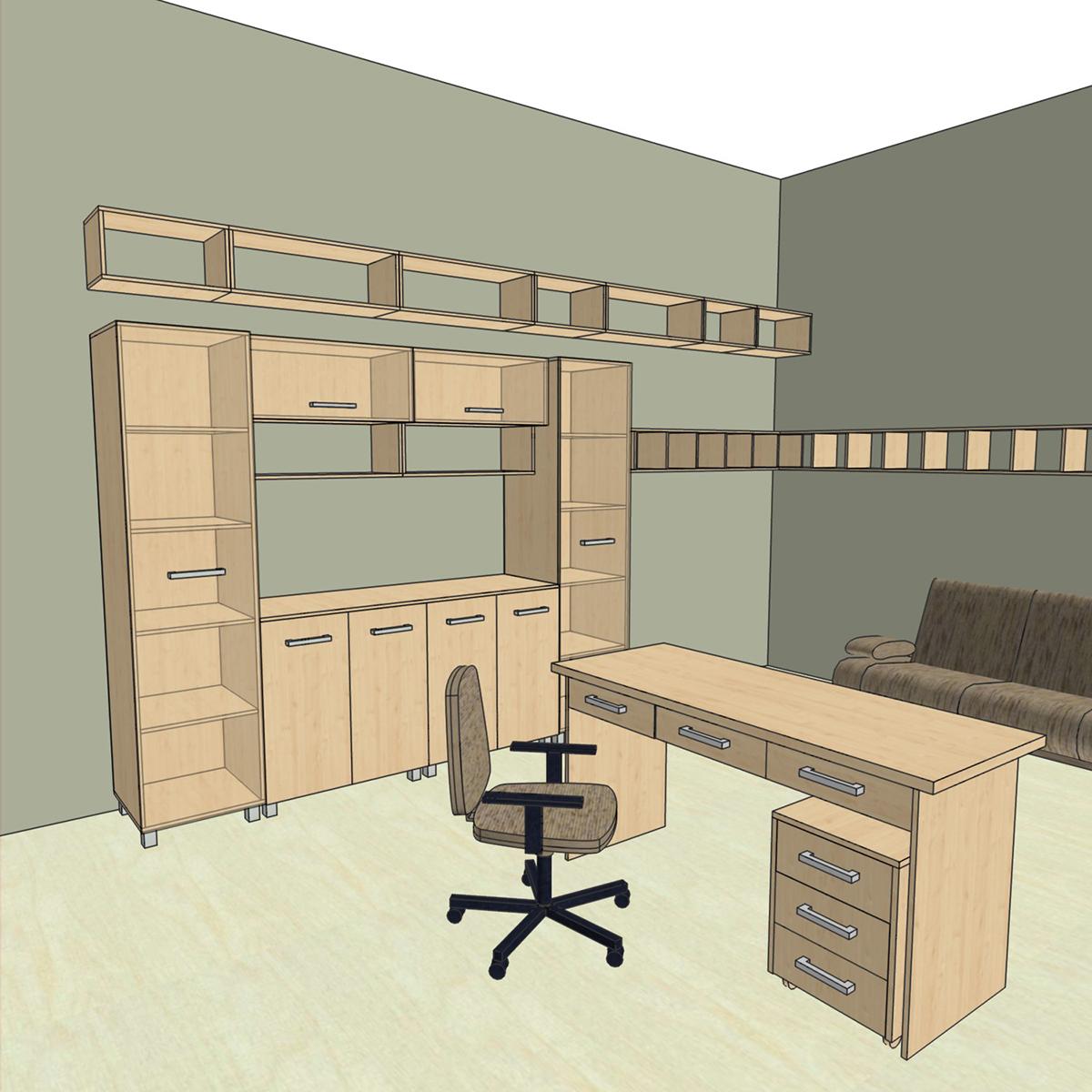 Проект интерьера офисной мебели из ЛДСП